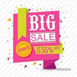 Big Sale with Upto 55% Off for Limited Time Only, Creative Paper Tag, Label or Ribbon design on confetti background.