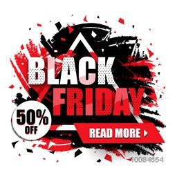 Black Friday Sale with 50% Off, Creative Abstract Poster, Banner or Flyer design, Vector illustration.