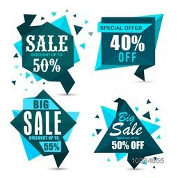 Set of creative Paper Tag, Label or Banner design of Big Sale with different Discounts, Vector illustration.