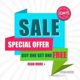 Special Offer Sale Paper Tag or Banner design on rays background, Vector illustration.