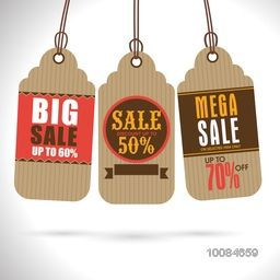 Set of three creative Hang Tags or Labels design for Big Sale and Discounts on shiny grey background.