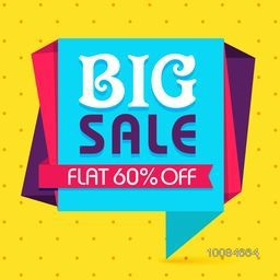 Big Sale with Flat 60% Off, Creative Paper Tag, Poster, Banner or Flyer design on shiny yellow background.