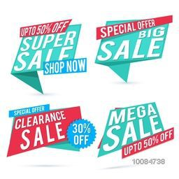 Set of creative Paper Tags or Banners design for Sale and Discounts on white background.