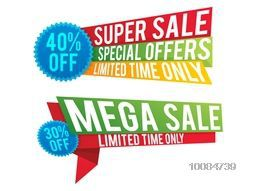 Super Sale with Special Discount Offers for limited time only, Creative colorful Paper Tag or Banner design on white background.