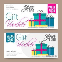 Creative modern Gift or Discount Voucher, Coupon or Certificate design, Vector illustration.