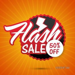 Flash Sale with 50% Discount Offer, Can be used as Poster, Banner or Flyer design.