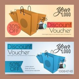 Creative Discount Voucher, Gift Card or Coupon design with illustration of paper shopping bags.