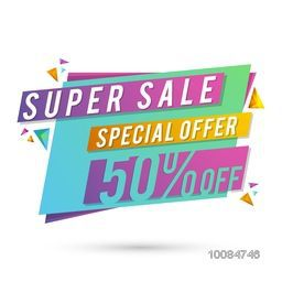 Super Sale with Special 50% Discount Offer, Creative colorful Paper Tag or Banner design on white background.