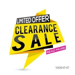 Clearance Sale Paper Tag or Banner design on white background.