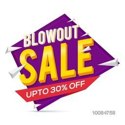 Blowout Sale with 30% Discount Offer, Can be used as Poster, Banner, Flyer or Tag design, Creative vector illustration.