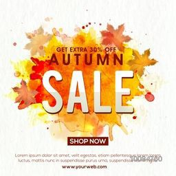 Autumn Sale with Extra 30% Discount Offer, Creative Typographical Background with abstract splash, Can be used as Poster, Banner or Flyer design.