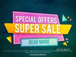 Special Offer, Super Sale Paper Tag, Banner, Poster or Flyer design on grungy background, Creative vector illustration.