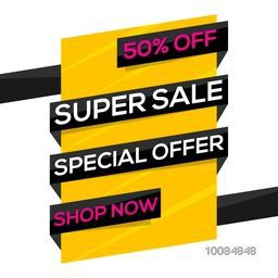 Super Sale with Special 50% Discount Offer, Creative Paper Tag, Poster, Banner, Ribbon or Flyer design on white background.