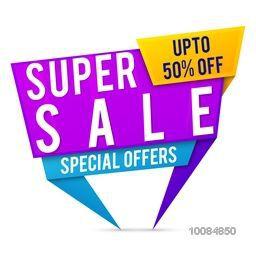 Creative Paper Tag or Banner design of Super Sale with Upto 50% Off, Vector illustration.
