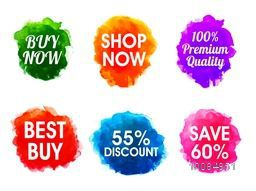 Creative Sale and Discount typographic set with abstract watercolor design on white background.