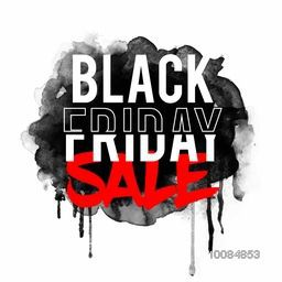 Stylish Text Black Friday Sale on abstract watercolor background, Can be used as Poster, Banner or Flyer design.