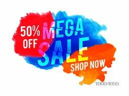 Mega Sale with 50% Discount Offer, Creative Poster, Banner or Flyer design with colorful splash.