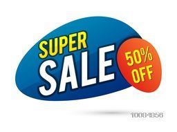 Creative Poster, Banner or Flyer design of Super Sale with 50% Discount Offer.