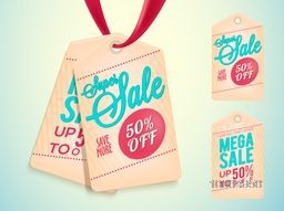 Super Sale and Discount Tags or Label design on shiny background.