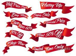 Set of glossy red Ribbons for Sale and Discount Offer on white background, Creative vector illustration.