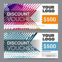 Creative Discount Voucher, Gift Card or Coupon template layout with colorful abstract design.