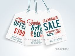 Set of three creative Sale and Discounts Tags or Label design on shiny background.