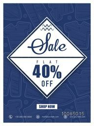 Sale Poster, Sale Banner, Sale Flyer, Flat 40% Off, Sale Sticker, Sale Label, Sale Tag, Sale Background with illustration of clothes.