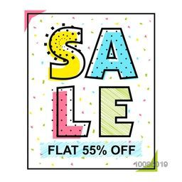 Hand drawn colorful text Sale, Flat 55% Off, Creative  Poster, Banner or Flyer design, Vector illustration.