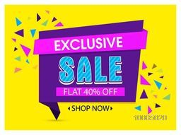 Exclusive Sale with Flat 40% Off, Creative Paper Tag, Banner or Poster design, Vector illustration.