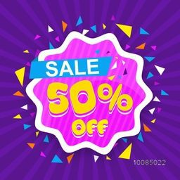 Creative Poster, Banner or Flyer design of Sale with 50% Off, Stylish Frame on abstract rays background, Vector illustration.