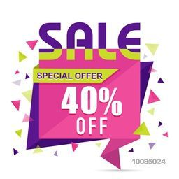 Special Offer Sale with 40% Off, Creative Paper Tag, Banner or Poster design, Vector illustration.