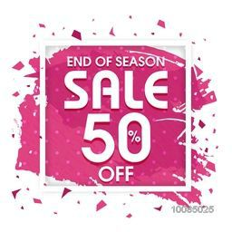 End of Season Sale with 50% Discount Offer, Abstract watercolor background with frame, Creative Poster, Banner or Flyer design.