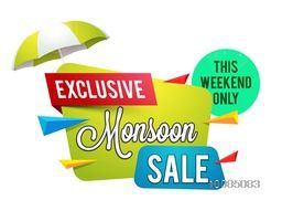 Exclusive Monsoon Sale for this weekend only, Creative Glossy Paper Tag or Banner design, Vector illustration.