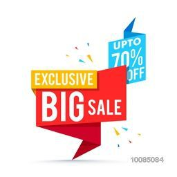 Exclusive Big Sale with Upto 70% Off, Creative Paper Tag design, Stylish Poster, Banner or Flyer layout, Vector illustration.