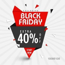 Exclusive Black Friday Sale with Extra 40% Off, Creative Paper Tag or Banner design, Vector illustration.