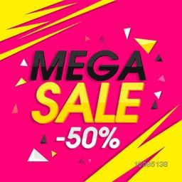 Mega Sale with 50% Off, Creative Poster, Banner or Flyer design. Stylish vector illustration.