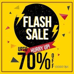 Flash Sale with Upto 70% Off, Creative Poster, Banner or Flyer design. Stylish vector illustration.