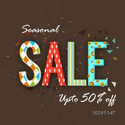 Seasonal Sale with Upto 50% Off, Creative colorful typographical background, Stylish Poster, Banner or Flyer design.