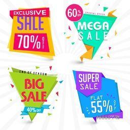 Set of four creative Sale and Discount Paper Tag or Banner design on rays background, Vector illustration.