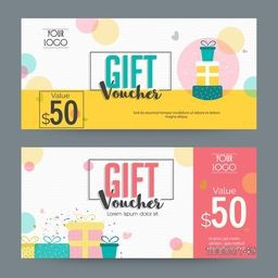 Creative Gift Voucher, Certificate or Coupon design template layout with illustration of colorful wrapped gifts.
