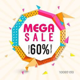 Mega Sale with Upto 60% Off, Creative colorful Poster, Banner or Flyer design. Vector illustration.