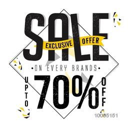 Exclusive offer Sale with Upto 70% Off on every brand, Creative Poster, Banner or Flyer design. Typographical Background.