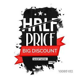 Half Price Sale with Big Discount Offer, Creative Poster, Banner, Flyer or Ribbon design, Vector illustration.