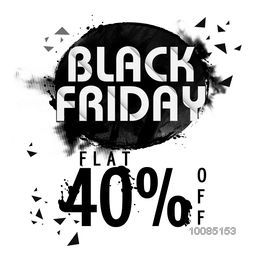 Black Friday Sale with Flat 40% Off, Creative Poster, Banner or Flyer design. Vector illustration.