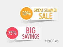 Tag, sticker and label of Big Saving 75% and Great Summer Sale 50 present on shiny silver background.
