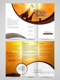 Creative Travel Trifold Brochure, Template or Flyer design with glossy nature view and space for image.