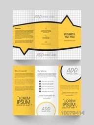 Front and back page view of a professional Trifold Brochure, Template and flyer design with space for your images.