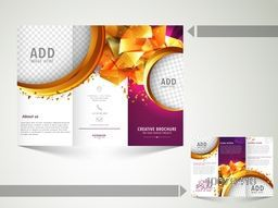 Abstract Trifold Brochure, Template or Flyer design with image space and front or back page presentation.