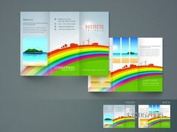 Stylish trifold flyer, brochure or catalog design for tour, trevel and tourism.
