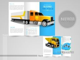 Professional trifold brochure, catalog and flyer for transport business purpose.